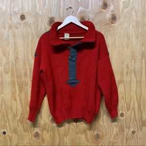 Vintage Red Pullover Knit Sweater